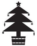 Σκιαγραφία χριστουγεννιάτικων δέντρων με τις διακοσμήσεις Στοκ εικόνα με δικαίωμα ελεύθερης χρήσης