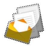 Σκιαγραφία χρώματος αυτοκόλλητων ετικεττών με το ταχυδρομείο φακέλων και τα φύλλα εγγράφων ελεύθερη απεικόνιση δικαιώματος