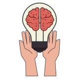 Σκιαγραφία χρώματος με τα χέρια που κρατούν lightbulb με τον εγκέφαλο μέσα απεικόνιση αποθεμάτων