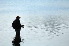 σκιαγραφία ψαράδων στοκ εικόνα με δικαίωμα ελεύθερης χρήσης