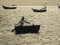 Σκιαγραφία ψαράδων Στοκ Φωτογραφία