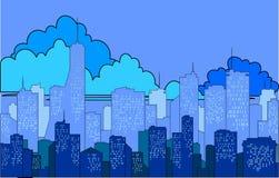 Σκιαγραφία ‹â€ ‹πόλεων †σε ένα μπλε υπόβαθρο Στοκ Φωτογραφίες