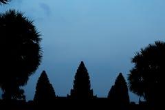 Σκιαγραφία Angkor Wat, μια περιοχή κληρονομιάς της ΟΥΝΕΣΚΟ στην Καμπότζη Στοκ εικόνα με δικαίωμα ελεύθερης χρήσης
