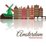 Σκιαγραφία Colorized του Άμστερνταμ διάνυσμα οριζόντων σχεδίου πόλεων ανασκόπησής σας Στοκ εικόνες με δικαίωμα ελεύθερης χρήσης