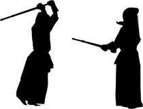 σκιαγραφία kendo 2 μαχητών Στοκ φωτογραφίες με δικαίωμα ελεύθερης χρήσης