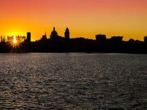 Σκιαγραφία Mantua στο ηλιοβασίλεμα, Ιταλία Στοκ εικόνες με δικαίωμα ελεύθερης χρήσης