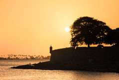 Σκιαγραφία San Juan ηλιοβασιλέματος Στοκ Εικόνες