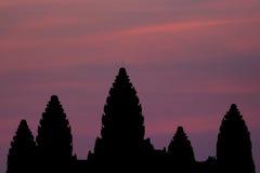 Σκιαγραφία Wat Angkor Στοκ Φωτογραφία