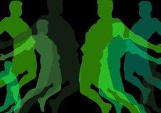 σκιαγραφίες άλματος ατόμων στη σειρά των πρασίνων με την αδιαφάνεια Μαύρη ανασκόπηση διανυσματική απεικόνιση