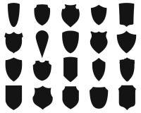 Σκιαγραφίες ασπίδων καθορισμένες Στοκ εικόνες με δικαίωμα ελεύθερης χρήσης