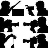 6 σκιαγραφίες ενός κινηματογράφου στη κάμερα Στοκ εικόνες με δικαίωμα ελεύθερης χρήσης