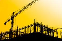 Σκιαγραφίες εργοτάξιων οικοδομής Στοκ φωτογραφία με δικαίωμα ελεύθερης χρήσης
