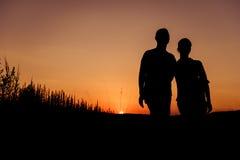 Σκιαγραφίες ζεύγους Στοκ Εικόνες