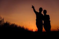 Σκιαγραφίες ζεύγους Στοκ φωτογραφία με δικαίωμα ελεύθερης χρήσης
