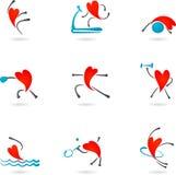 Σκιαγραφίες καρδιών ικανότητας Στοκ φωτογραφία με δικαίωμα ελεύθερης χρήσης