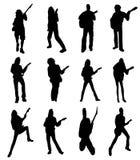 σκιαγραφίες κιθαριστών Στοκ εικόνες με δικαίωμα ελεύθερης χρήσης