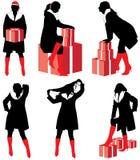 σκιαγραφίες κοριτσιών δώ& Διανυσματική απεικόνιση
