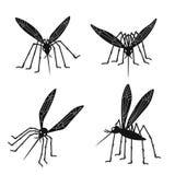 Σκιαγραφίες κουνουπιών που απομονώνονται στο άσπρο υπόβαθρο απεικόνιση αποθεμάτων