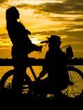 Σκιαγραφίες μιας ευτυχούς οικογένειας με τα σκυλιά και τα ποδήλατά τους Στο θόριο Στοκ φωτογραφία με δικαίωμα ελεύθερης χρήσης