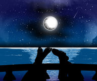 σκιαγραφίες νύχτας Στοκ Φωτογραφίες
