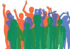 Σκιαγραφίες ομάδας παιδιών με την αδιαφάνεια πράσινος, μπλε και πορτοκαλής ελεύθερη απεικόνιση δικαιώματος