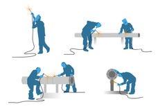 Σκιαγραφίες οξυγονοκολλητών καθορισμένες Στοκ εικόνα με δικαίωμα ελεύθερης χρήσης