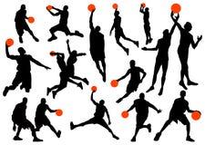 σκιαγραφίες παίχτης μπάσκ& Στοκ Εικόνες