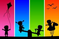 Σκιαγραφίες παιδιών στο πάρκο [1] διανυσματική απεικόνιση