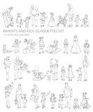 Σκιαγραφίες παιδιών και γονέων, ελεύθερη απεικόνιση δικαιώματος