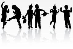 Σκιαγραφίες παιδιών Στοκ φωτογραφία με δικαίωμα ελεύθερης χρήσης