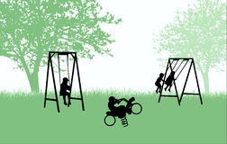 Σκιαγραφίες παιδιών Στοκ εικόνα με δικαίωμα ελεύθερης χρήσης