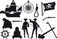 Σκιαγραφίες πειρατών Στοκ φωτογραφίες με δικαίωμα ελεύθερης χρήσης