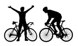 Σκιαγραφίες ποδηλατών Στοκ Εικόνες