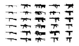 Σκιαγραφίες πυροβόλων όπλων καθορισμένες. Στοκ Φωτογραφίες