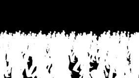 Σκιαγραφίες πλήθους που περπατούν, μύγα καμερών