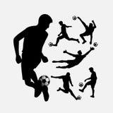 Σκιαγραφίες δράσης ποδοσφαιριστών καθορισμένες Στοκ Εικόνα