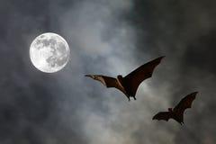 Σκιαγραφίες ροπάλων με το έξοχο φεγγάρι - φεστιβάλ αποκριών Στοκ Εικόνα