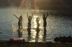 Σκιαγραφίες σε μια λίμνη στοκ φωτογραφία