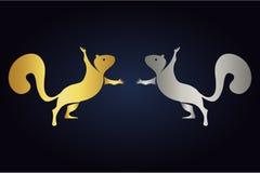 Σκιαγραφίες σκιούρων παιχνιδιού που στέκονται πρόσωπο με πρόσωπο Λογότυπο των σκιούρων στα χρυσά και ασημένια χρώματα Στάση σκιού διανυσματική απεικόνιση