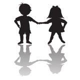 σκιαγραφίες σκιών παιδιώ&nu ελεύθερη απεικόνιση δικαιώματος