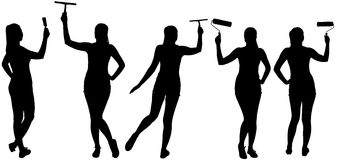 Σκιαγραφίες συνόλου της γυναίκας που κάνει τη βελτίωση σπιτιών Στοκ Εικόνα