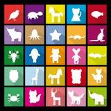 Σκιαγραφίες συνόλου των ζώων Επίπεδο εικονίδιο Στοκ εικόνα με δικαίωμα ελεύθερης χρήσης