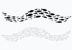 Σκιαγραφίες συνόλου των ομάδων ψαριών θάλασσας Αποικία των μικρών ψαριών Εικονίδιο με taxers ποταμών Στοκ Εικόνες