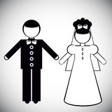 Σκιαγραφίες της νύφης και του νεόνυμφου Στοκ φωτογραφία με δικαίωμα ελεύθερης χρήσης