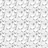 Σκιαγραφίες του γραπτού άνευ ραφής σχεδίου κοχυλιών θάλασσας Στοκ Εικόνα
