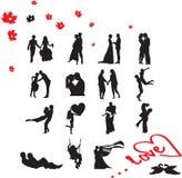 Σκιαγραφίες του ζεύγους ερωτευμένες διανυσματική απεικόνιση