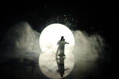 Σκιαγραφίες του ζεύγους παιχνιδιών που χορεύουν κάτω από το φεγγάρι τη νύχτα Αριθμοί του ερωτευμένου χορού ανδρών και γυναικών στ Στοκ Φωτογραφία