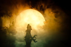 Σκιαγραφίες του ζεύγους παιχνιδιών που χορεύουν κάτω από το φεγγάρι τη νύχτα Αριθμοί του ερωτευμένου χορού ανδρών και γυναικών στ Στοκ Εικόνες