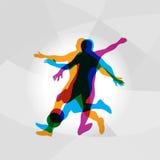 Σκιαγραφίες του διανύσματος ποδοσφαιριστών ελεύθερη απεικόνιση δικαιώματος