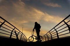 Σκιαγραφίες του ποδηλάτου Στοκ φωτογραφία με δικαίωμα ελεύθερης χρήσης